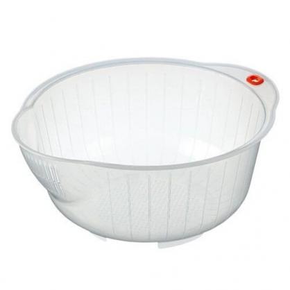 小禮堂 Inomata 日製 圓形塑膠洗米籃 透明洗米籃 瀝水籃 洗米盆 3-5杯 (白)
