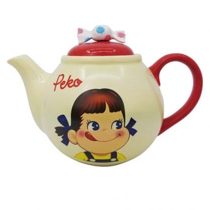 小禮堂 不二家Peko 造型陶瓷茶壺 咖啡壺 飲料壺 開水壺 500ml (米紅 糖果)