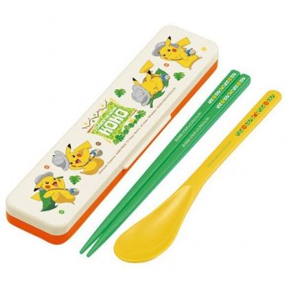 小禮堂 寶可夢 皮卡丘 日製 盒裝兩件式餐具組 匙筷 塑膠餐具 環保餐具 (米綠 樹葉)