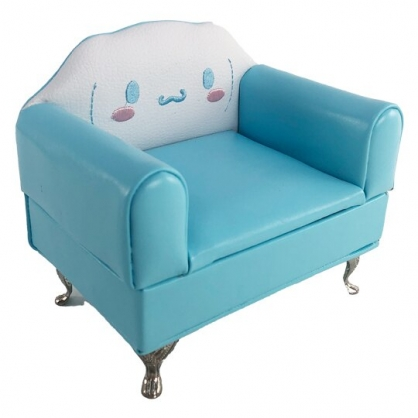 小禮堂 大耳狗 沙發造型皮質飾品收納盒 首飾鏡盒 收納鏡盒 珠寶盒 (藍)