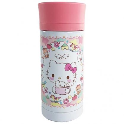 小禮堂 Hello Kitty 旋轉蓋不鏽鋼保溫瓶 不鏽鋼水瓶 兒童水壺 隨身瓶 350ml (紅 天使)