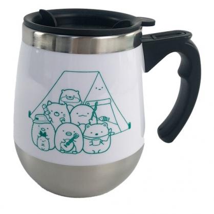 小禮堂 角落生物 單耳不鏽鋼杯 附蓋 保溫馬克杯 咖啡杯 保溫杯 350ml (白 露營)