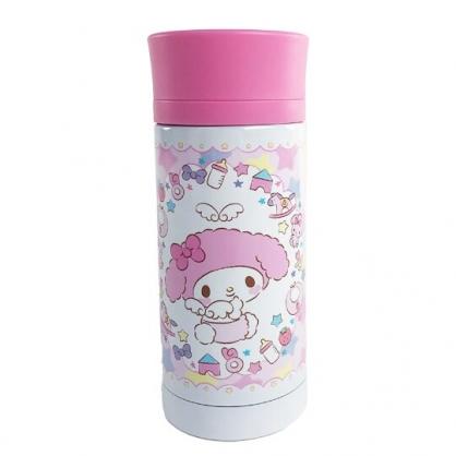 小禮堂 美樂蒂 旋轉蓋不鏽鋼保溫瓶 不鏽鋼水瓶 兒童水壺 隨身瓶 350ml (粉 天使)