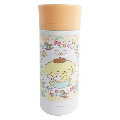 小禮堂 布丁狗 旋轉蓋不鏽鋼保溫瓶 不鏽鋼水瓶 兒童水壺 隨身瓶 350ml (橘 天使)