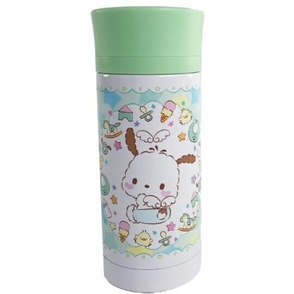 小禮堂 帕恰狗 旋轉蓋不鏽鋼保溫瓶 不鏽鋼水瓶 兒童水壺 隨身瓶 350ml (綠 天使)