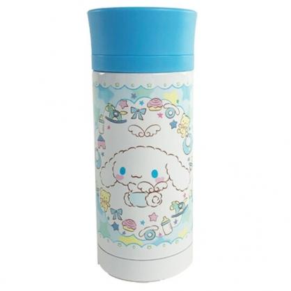 小禮堂 大耳狗 旋轉蓋不鏽鋼保溫瓶 不鏽鋼水瓶 兒童水壺 隨身瓶 350ml (藍 天使)