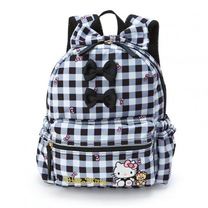 小禮堂 Hello Kitty 兒童尼龍後背包 防潑水後背包 防水背包 書包 (黑白 格紋)