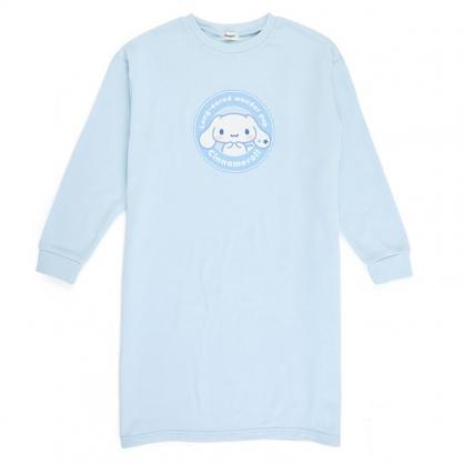 小禮堂 大耳狗 休閒棉質長版長袖上衣 連身洋裝 連身衣 睡衣 長T (藍 圓框)