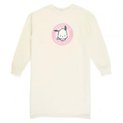 小禮堂 帕恰狗 休閒棉質長版長袖上衣 連身洋裝 連身衣 睡衣 長T (米 圓框)