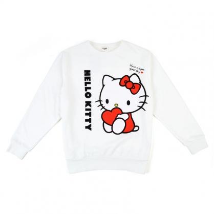 小禮堂 Hello Kitty 休閒棉質圓領長袖上衣  大學T 衛衣 T-shirt T恤 (白  直LOGO)
