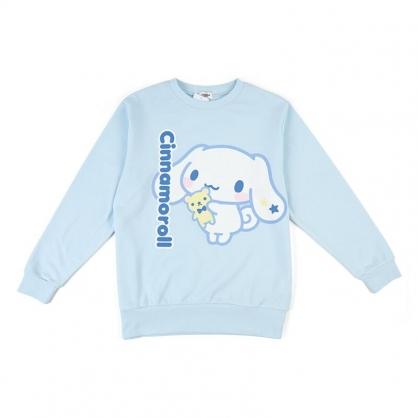 小禮堂 大耳狗 休閒棉質圓領長袖上衣 大學T 衛衣 T-shirt T恤 (藍 直LOGO)