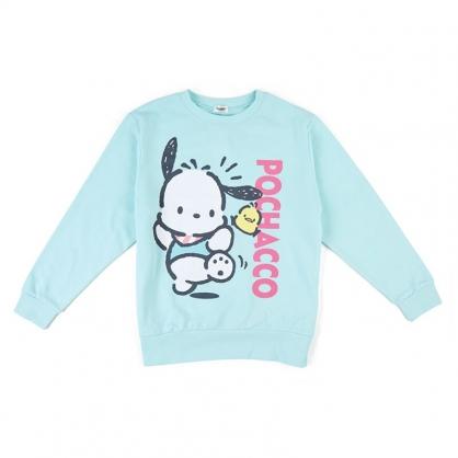 小禮堂 帕恰狗 休閒棉質圓領長袖上衣 大學T 衛衣 T-shirt T恤 (綠 直LOGO)