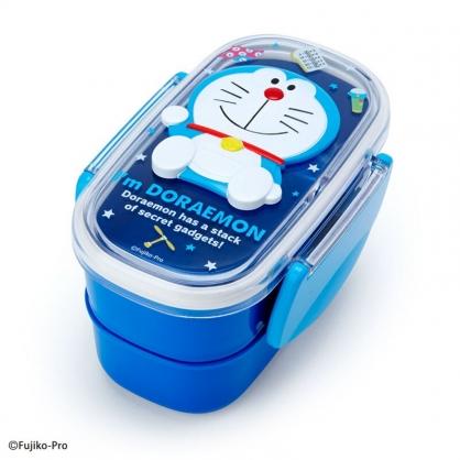小禮堂 哆啦A夢 日製 透明蓋雙層微波便當盒 雙扣便當盒 塑膠便當盒 保鮮盒 (藍 浮雕)