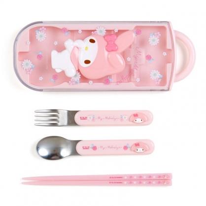 小禮堂 美樂蒂 日製 滑蓋三件式餐具組 叉匙筷 兒童餐具 環保餐具 (粉 浮雕)