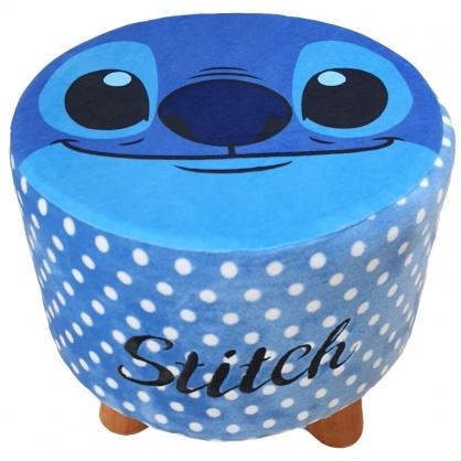 小禮堂 迪士尼 史迪奇 絨毛三腳凳 圓凳椅 矮腳椅 板凳 圓椅 (藍 大臉)