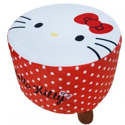 小禮堂 Hello Kitty 絨毛三腳凳 圓凳椅 矮腳椅 板凳 圓椅 (白 大臉)