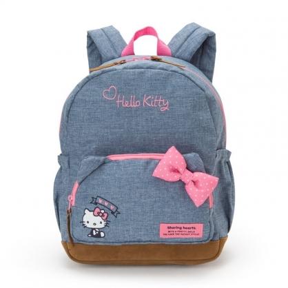 小禮堂 Hello Kitty 兒童牛仔布後背包 帆布後背包 休閒背包 書包 (藍 蝴蝶結)