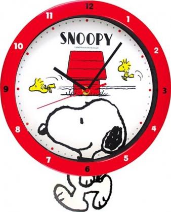 小禮堂 史努比 連續秒針圓形壁掛鐘 擺鐘 時鐘 壁鐘 圓鐘 (紅 走路)