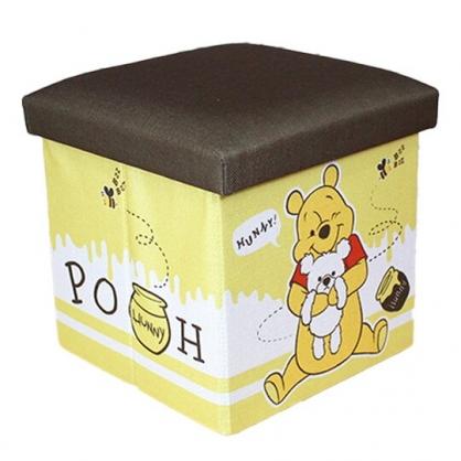 小禮堂 迪士尼 小熊維尼 折疊拿蓋收納箱 帆布收納箱 折疊收納箱 玩具箱 雜物箱 (黃 蜂蜜)
