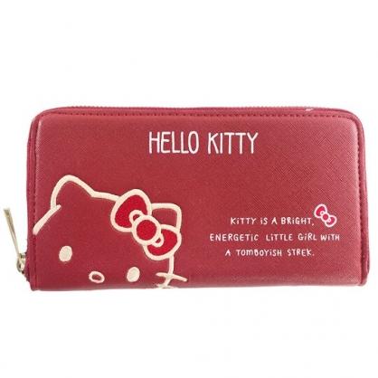 小禮堂 Hello Kitty 皮質拉鍊長夾 長皮夾 零錢包 皮錢包 手拿包 (紅 大臉)