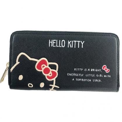 小禮堂 Hello Kitty 皮質拉鍊長夾 長皮夾 零錢包 皮錢包 手拿包 (黑 大臉)