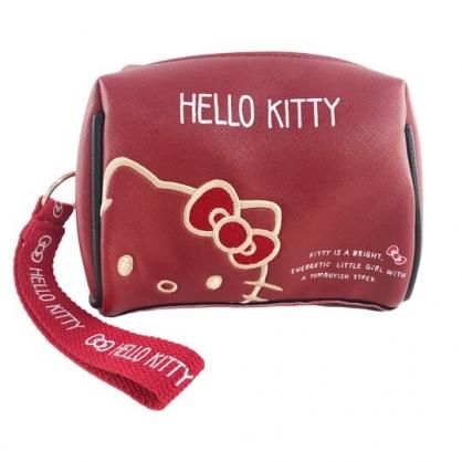 小禮堂 Hello Kitty 三角皮質化妝包 腕繩化妝包 皮質收納包 文具包 小物包 (紅 大臉)