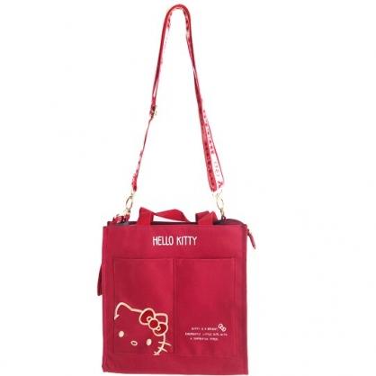 小禮堂 Hello Kitty 直式尼龍雙格手提袋 尼龍斜背袋 尼龍托特包 便當袋 (紅 大臉)