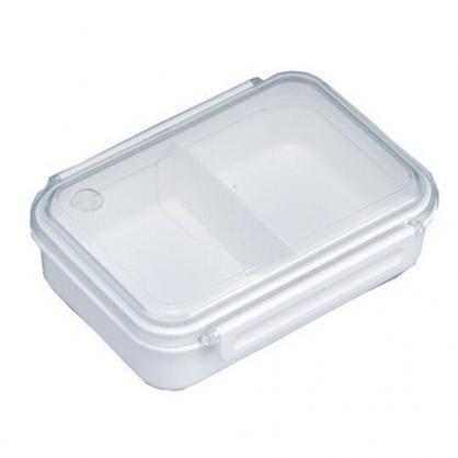 小禮堂 日製 透明蓋微波便當盒 雙扣便當盒 塑膠便當盒 保鮮盒 650ml (白)