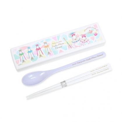 小禮堂 美少女戰士 日製 盒裝兩件式餐具組 匙筷 塑膠餐具 環保餐具 (白 水手服)