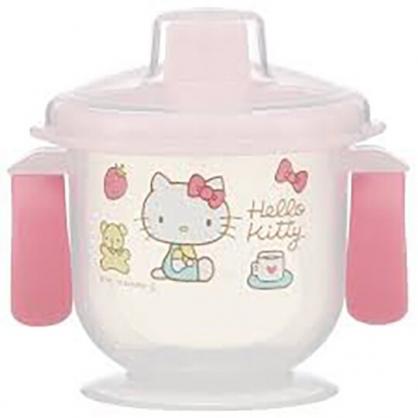 小禮堂 Hello Kitty 幼兒直飲雙耳學習杯 塑膠學習杯 直飲水杯 兒童水壺 180ml (粉 蘋果)
