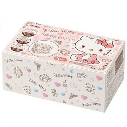 小禮堂 Hello Kitty 兒童不織布口罩組 平面口罩 拋棄式口罩 兒童口罩 (30入 粉 愛心)