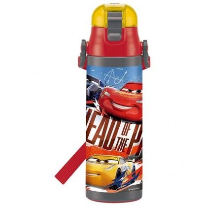 小禮堂 迪士尼 閃電麥坤 彈蓋不鏽鋼保溫瓶 附背帶 不鏽鋼水瓶 兒童水壺 隨身瓶 580ml (紅 比賽)