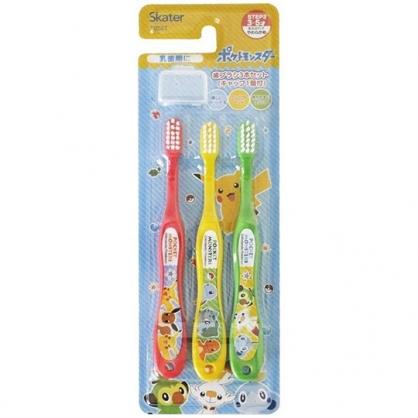 小禮堂 寶可夢 皮卡丘 兒童牙刷組 附牙刷蓋 學習牙刷 學童牙刷 3-5歲適用 (黃 樹葉)