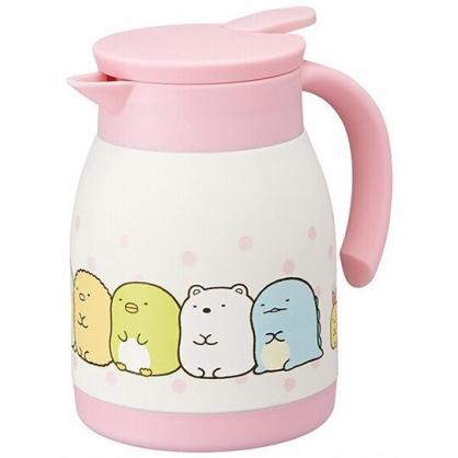 小禮堂 角落生物 單耳不鏽鋼茶壺 熱水壺 咖啡壺 飲料壺 保溫壺 600ml (粉 點點)