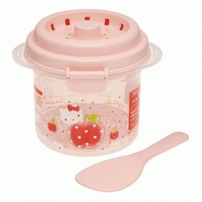 小禮堂 Hello Kitty 日製 圓形白飯微波保鮮盒 附飯匙 炊飯器 小飯鍋 微波煮飯 640m (粉 蘋果)