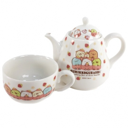 小禮堂 角落生物 陶瓷水壺水杯組 咖啡壺 咖啡杯 杯壺組 午茶杯壺 (粉 草莓)