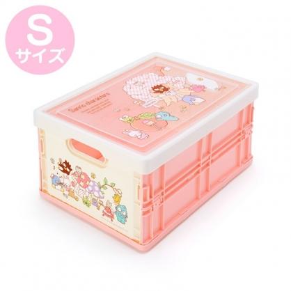 小禮堂 Sanrio大集合 透明蓋折疊收納箱 塑膠收納箱 拿蓋收納箱 玩具箱 雜物箱 (S 粉 樹)