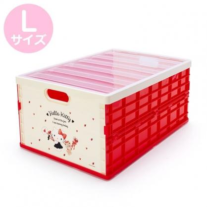小禮堂 Hello Kitty 透明蓋折疊收納箱 塑膠收納箱 拿蓋收納箱 玩具箱 雜物箱 (L 紅 愛心)
