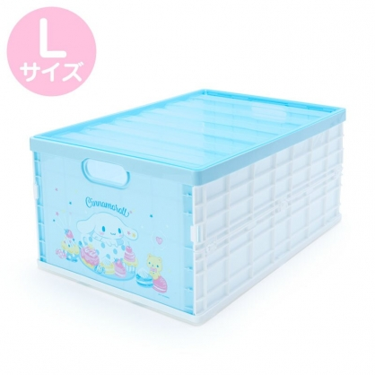 小禮堂 大耳狗 透明蓋折疊收納箱 塑膠收納箱 拿蓋收納箱 玩具箱 雜物箱 (L 藍 甜點)