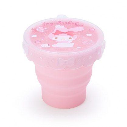 小禮堂 美樂蒂 矽膠折疊水杯 附蓋 兒童水杯 矽膠杯 環保杯 隨身杯 160ml (粉 防疫對策)