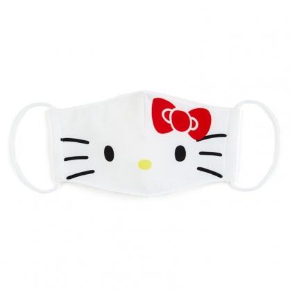 小禮堂 Hello Ktity 成人布口罩 平面口罩 純棉口罩 防塵口罩 可水洗 (白 防疫對策)