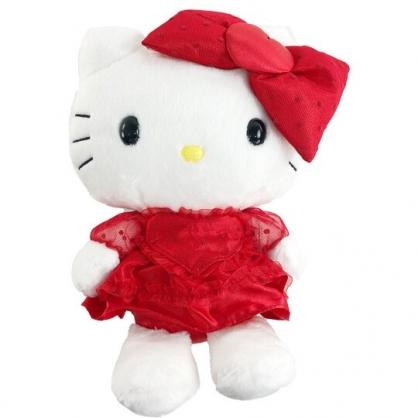 小禮堂 Hello Kitty 8吋絨毛玩偶 情人節娃娃 絨毛娃娃 小型玩偶 布偶 (紅紗洋裝)