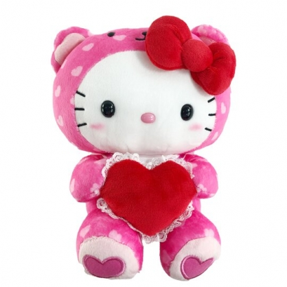 小禮堂 Hello Kitty 8吋絨毛玩偶 情人節娃娃 絨毛娃娃 小型玩偶 布偶 (粉 熊裝)