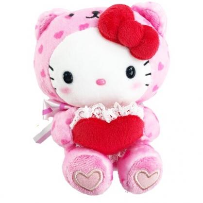 小禮堂 Hello Kitty 迷你絨毛玩偶 情人節娃娃 絨毛娃娃 小型玩偶 布偶 (粉 熊裝)