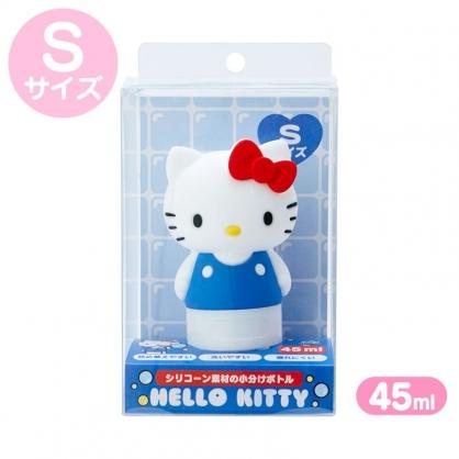 小禮堂 Hello Kitty 造型掀蓋矽膠空瓶 洗手乳瓶 乳液瓶 擠壓瓶 分裝瓶 45ml (S 藍)
