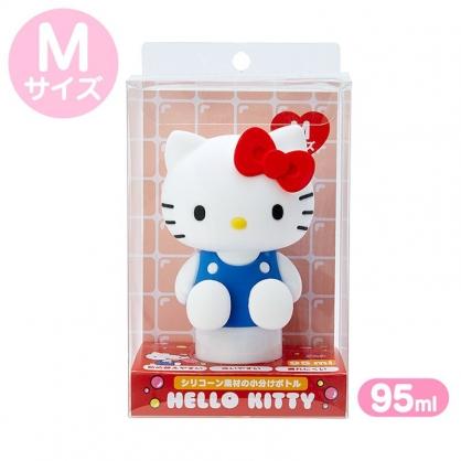 小禮堂 Hello Kitty 造型掀蓋矽膠空瓶 洗手乳瓶 乳液瓶 擠壓瓶 分裝瓶 95ml (M 藍)