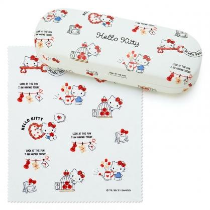 小禮堂 Hello Kitty 皮質硬殼眼鏡盒 附眼鏡布 皮質收納盒 小物盒 (米 2021新生活)