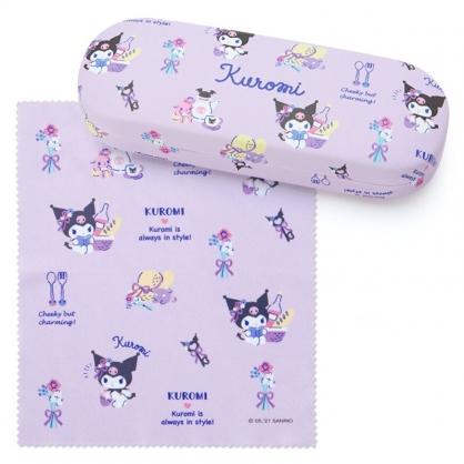 小禮堂 酷洛米 皮質硬殼眼鏡盒 附眼鏡布 皮質收納盒 小物盒 (紫 2021新生活)