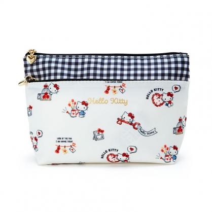 小禮堂 Hello Kitty 船形尼龍雙層化妝包 三角化妝包 收納包 盥洗包 小物包 (米 2021新生活)