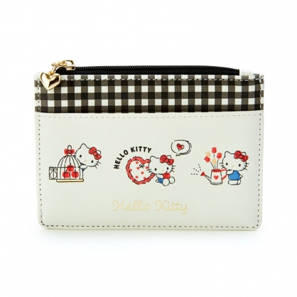 小禮堂 Hello Kitty 皮質拉鍊票卡零錢包 票卡夾 證件夾 小物包 (米 2021新生活)